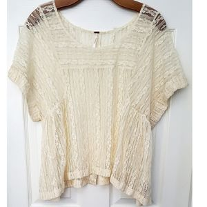 Free People Ecru Lace Flowy See Through Top